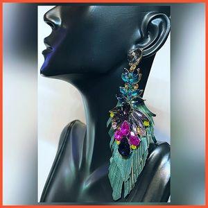 🏷 🆕 Noir Palm Leaf Cut Gemstone Earrings